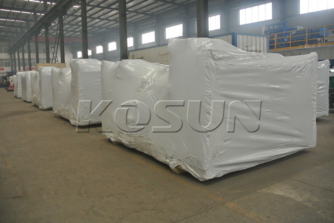 Plastic Packaging of Twelve KOSUN D450L Centrifuges Completed and Ready for Container Loading